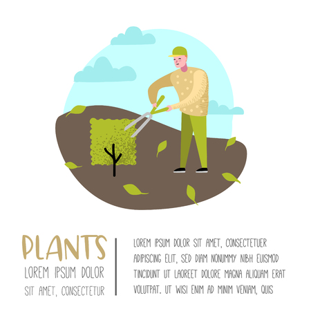 Gardening Cartoons Poster. Funny Simple Characters with Plants and Trees. Man Gardener. Vector illustration Illustration