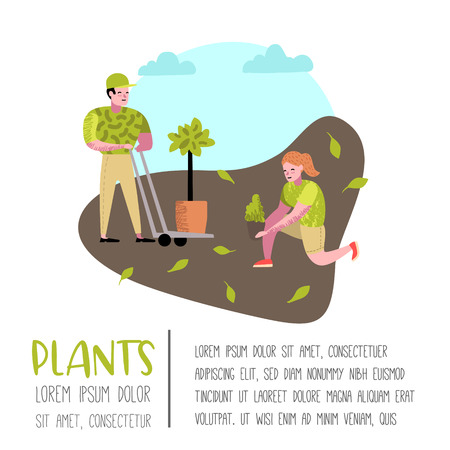 Gardening Cartoons Poster. Funny Simple Characters with Plants and Trees. Man and Woman Gardener. Vector illustration Illustration