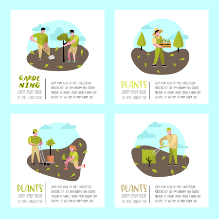 Gardening Cartoons Poster. Funny Simple Characters with Plants and Trees. Man and Woman Gardener. Vector illustration Stock Vector - 114745938