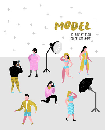 Photo Studio Characters Set with Photographer and Models Poster. Photographic Equipment and Posing Female Model. Vector illustration