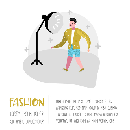 Photo Studio Character with Photographer Poster. Model Agency with Photographic Equipment. Vector illustration Çizim
