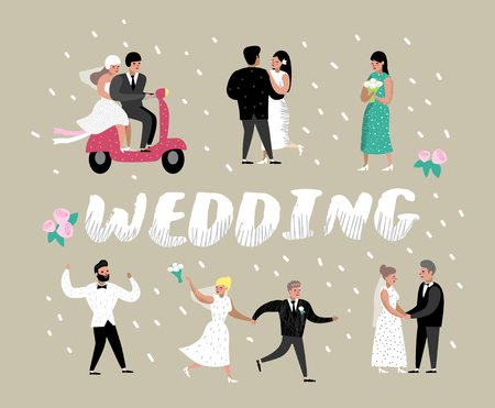 Wedding People Cartoons Bride and Groom Characters. Romantic Ceremony Elements with Happy Couple. Vector illustration Illustration