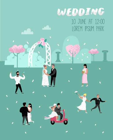 Wedding People Cartoons Bride and Groom Characters Poster Card. Romantic Ceremony Elements with Happy Couple. Vector illustration Illustration