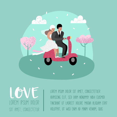 Wedding People Cartoons Bride and Groom Characters Poster Card. Romantic Ceremony Elements with Happy Couple. Vector illustration Иллюстрация