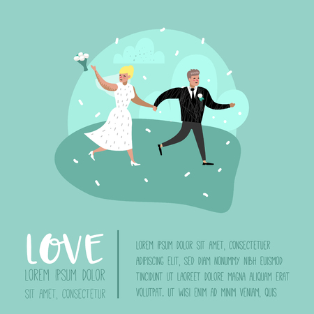 Wedding People Cartoons Bride and Groom Characters Poster Card. Romantic Ceremony Elements with Happy Couple. Vector illustration 向量圖像