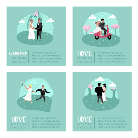 Wedding People Cartoons Bride and Groom Characters Poster Card. Romantic Ceremony Elements with Happy Couple. Vector illustration Standard-Bild - 114727627