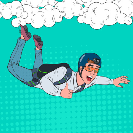 Pop Art Businessman Flying with Parachute. Happy Man Parachutist. Skydiver in the Air. Vector illustration