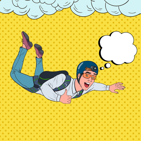 Pop Art Businessman Flying with Parachute. Happy Man Parachutist. Skydiver in the Air. Vector illustration Banque d'images - 114727630