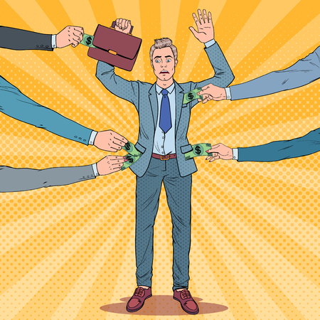 Pop Art besorgter Geschäftsmann mit Händen nach oben von Dieben ausgeraubt. Taschendiebe stehlen dem Menschen Geld. Vektor-Illustration
