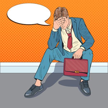Pop-Art betonter Geschäftsmann, der auf dem Boden sitzt. Müder enttäuschter Mann. Verzweiflung Büroangestellter. Vektor-Illustration