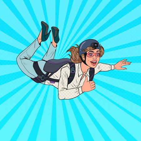 Femme d'affaires de pop art volant avec parachute. Parachutiste femme heureuse. Parachutiste dans les airs. Illustration vectorielle