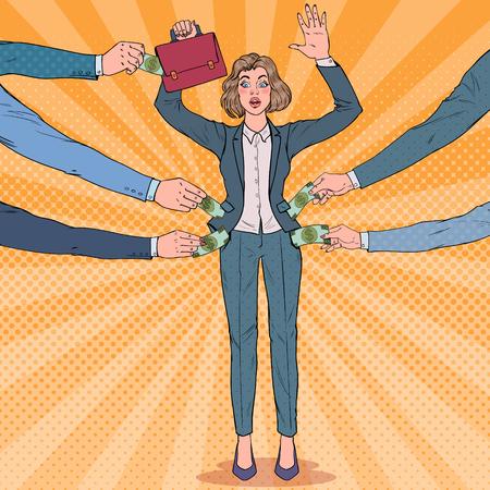 Popart bezorgd zakenvrouw met handen omhoog beroofd door dieven. Zakkenrollers stelen geld van meisje. Vector illustratie