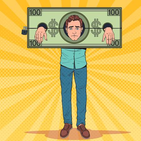 Pop-Art betonte Mann Gefangener des Geldes. Müder Geschäftsmann in Dollar-Fesseln. Vektor-Illustration Vektorgrafik