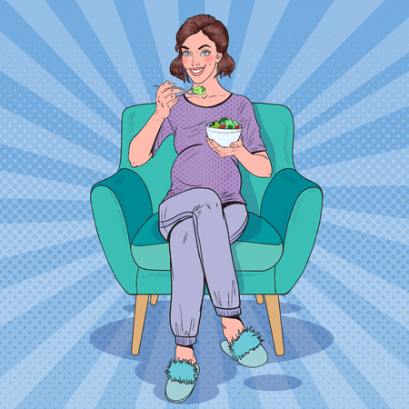 Pop Art Happy Pregnant Woman Eating Salad at Home. Healthy Food, Motherhood Concept. Vector illustration Ilustração