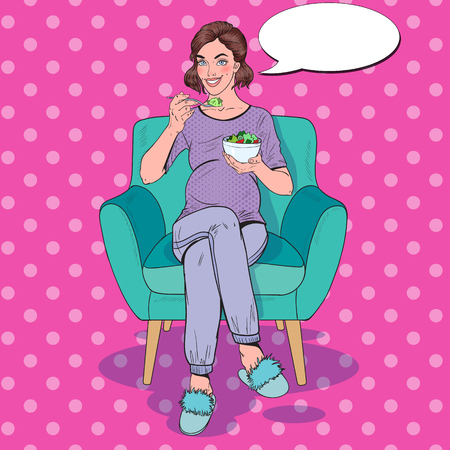 Pop Art Happy Pregnant Woman Eating Salad at Home. Healthy Food, Motherhood Concept. Vector illustration