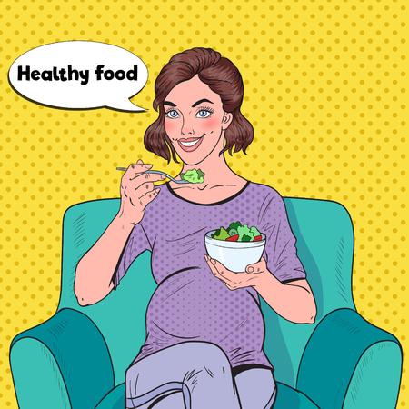 Pop Art Happy Pregnant Woman Eating Salad at Home. Healthy Food, Motherhood Concept. Vector illustration Illustration
