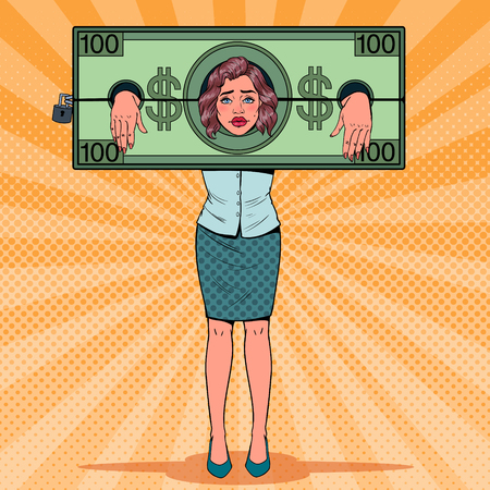 Pop Art Stressed Woman Prisoner of Money. Tired Business Woman in Dollar Shackles. Vector illustration