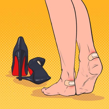 Pies de mujer de arte pop con parche en el tobillo después de usar zapatos de tacones altos. Vendaje adhesivo de yeso en la piel de la pierna. Ilustración vectorial