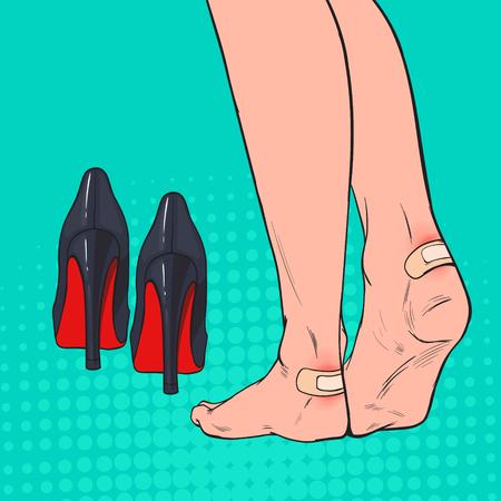 Pies de mujer de arte pop con parche en el tobillo después de usar zapatos de tacones altos. Vendaje adhesivo de yeso en la piel de la pierna. Ilustración vectorial Ilustración de vector