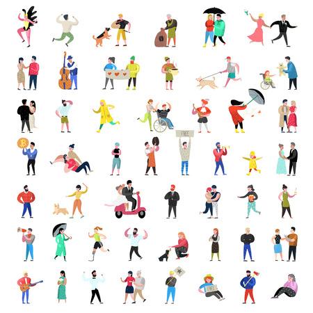 Collection de personnages de personnes plates. Dessins animés homme et femme dans diverses actions, poses et activités. Couples, famille et musiciens. Illustration vectorielle Vecteurs