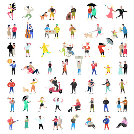 Flat People Characters Collection. Man and Woman Cartoons in Various Actions, Poses and Activities. Couples, Family and Musicians. Vector illustration Stock Vector - 112300329