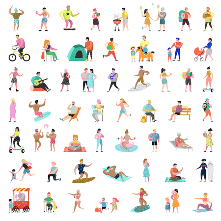 Flat People Characters Collection. Man and Woman Cartoons in Various Actions, Poses and Activities. Outdoor Active People. Vector illustration