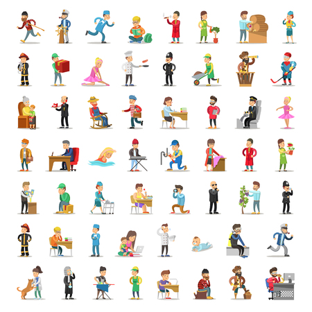 People Characters Collection. Cartoon Set Different Professions in Various Poses. Policeman, Businessman, Doctor, Fireman Man and Woman. Vector illustration Banque d'images - 112300333