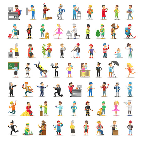 People Characters Collection. Cartoon Set Different Professions in Various Poses. Dancer, Businessman, Doctor, Fireman Man and Woman. Vector illustration Banque d'images - 112300334