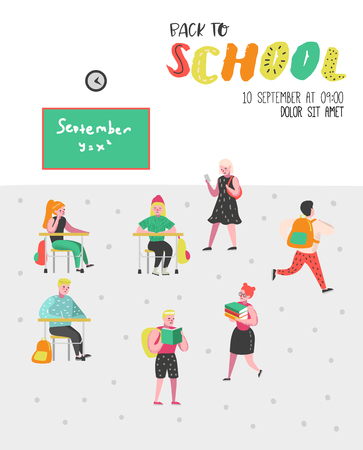 Students and Pupils Characters Set. Back to School Kids Poster. Classroom with Schoolchildren with Backpacks, Books. Education Concept. Vector illustration