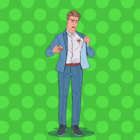 Pop Art Nervous Businessman Spilling Coffee on Shirt. Man with Stains on his Clothes. Vector illustration 版權商用圖片 - 112300348