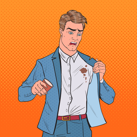 Pop Art Nervous Businessman Spilling Coffee on Shirt. Man with Stains on his Clothes. Vector illustration Illustration