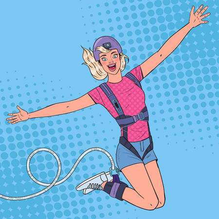 Pop Art Excited Beautiful Woman Jumping Bungee. Extreme Sports. Happy Girl Ropejumping. Vector illustration