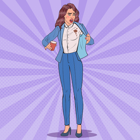 Pop Art Beautiful Unhappy Business Woman Spilling Coffee on Shirt. Girl with Stains on her Clothes. Vector illustration