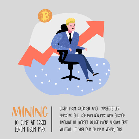 Bitcoin Concept with Flat Cartoon Character Poster, Banner. Crypto Currency Virtual Money. Bitcoin Mining, Electronic Finance. Vector illustration