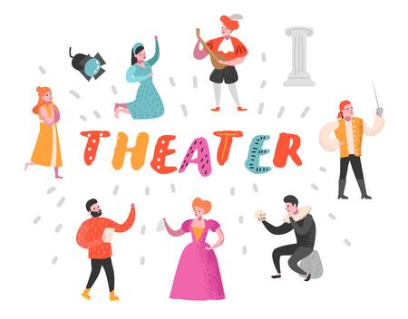 Conjunto de personajes de actor de teatro. Espectáculos teatrales de Flat People. Hombre y mujer artísticos en el escenario. Ilustración vectorial