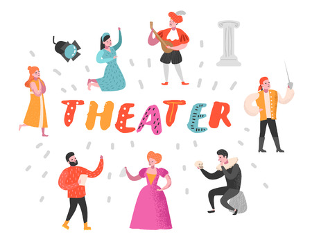 Theater Actor Characters Set. Flat People Theatrical Perfomances. Artistic Man and Woman on Stage. Vector illustration Çizim