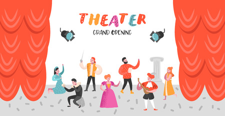 Conjunto de personajes de actor de teatro. Cartel de escenario teatral de personas planas. Actuaciones artísticas Hombre y Mujer. Ilustración vectorial Ilustración de vector
