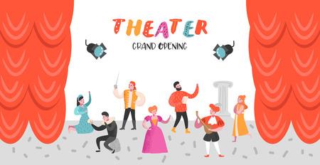 Theater acteur tekens instellen. Platte mensen theatrale fase Poster. Artistieke prestaties Man en vrouw. Vector illustratie Vector Illustratie