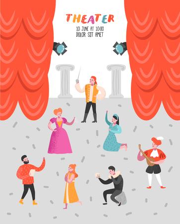 Conjunto de personajes de actor de teatro. Cartel de escenario teatral de personas planas. Actuaciones artísticas Hombre y Mujer. Ilustración vectorial
