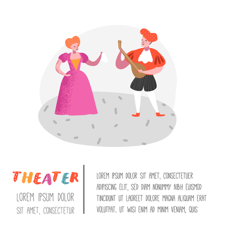 Theater Actor Characters. Flat People Theatrical Stage Poster. Artistic Perfomances Man and Woman. Vector illustration Illustration