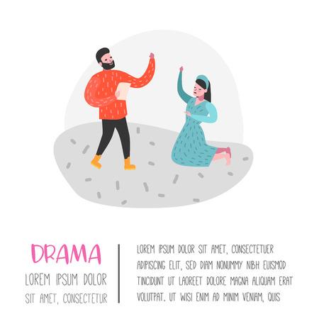 Personajes de actores de teatro. Cartel de escenario teatral de personas planas. Actuaciones artísticas Hombre y Mujer. Ilustración vectorial