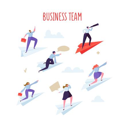 Business Team Concept. Business People Flying on Paper Planes. Leadership, Teamwork, Motivation. Vector illustration
