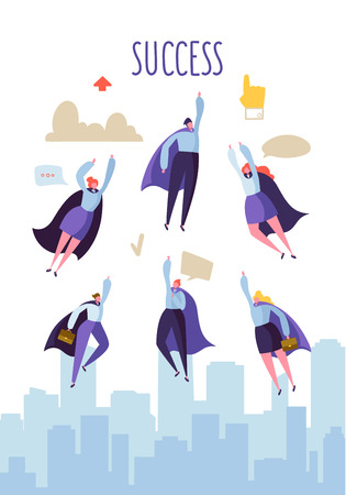 Business Leadership Concept. Flat Superhero Characters Flying to Success. Teamwork Cooperation, Goal Achievement. Vector illustration