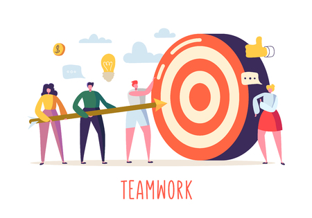 Business Teamwork Concept with Flat People Characters and Target. Goal Achievement, Motivation, Leadership, Idea. Vector illustration Vettoriali