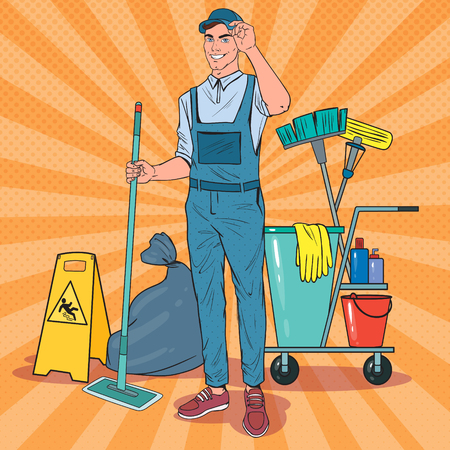 Pop Art Cleaner in Uniform with Mop. Cleaning Service Staff with Equipment. Vector illustration