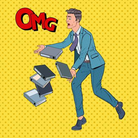 Pop Art Careless Businessman Dropping Folder Documents. Office Worker with Paper Files. Vector illustration