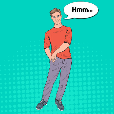 Pop Art Concerned Man with Empty Pockets. No Money, Bankruptcy Concept. Poor Guy. Vector illustration