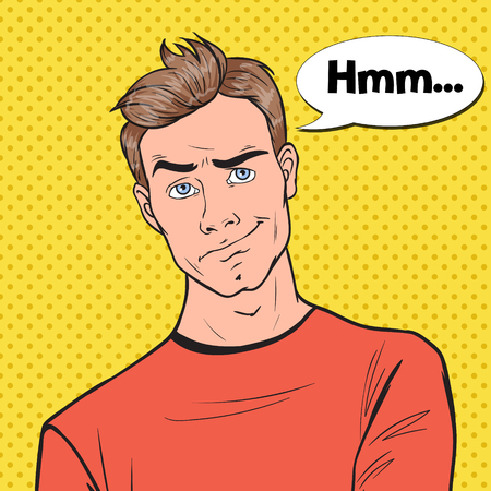 Pop Art Concerned Man Portrait. Thoughtful Worried Guy Facial Expression. Vector illustration