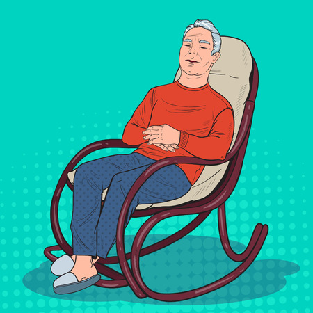 Pop Art Senior Man Sleeping in Chair. Grandfather Resting in Armchair. Vector illustration