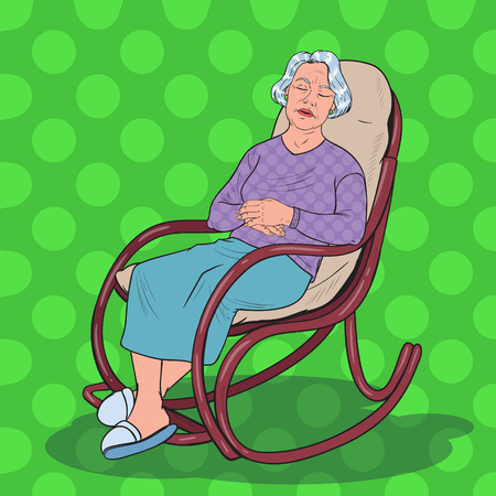 Pop Art Senior Woman Sleeping in Chair. Grandmother Resting in Armchair. Vector illustration Иллюстрация